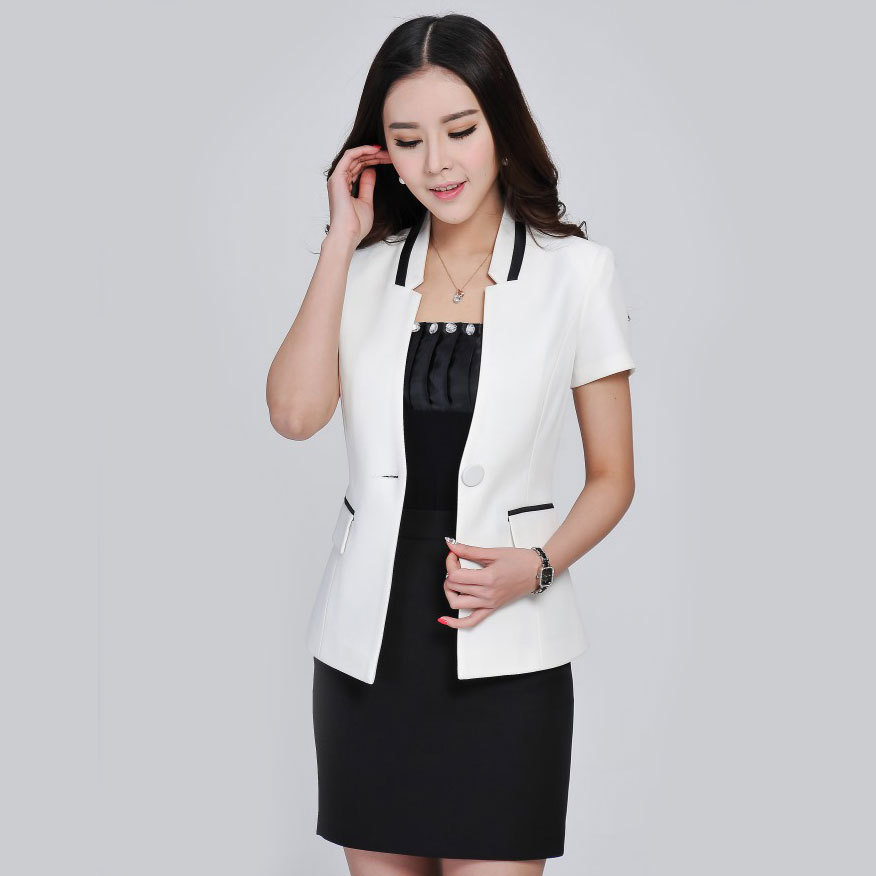 Summer style ladies blazers with skirt suits 2015 white for Office uniform design 2015