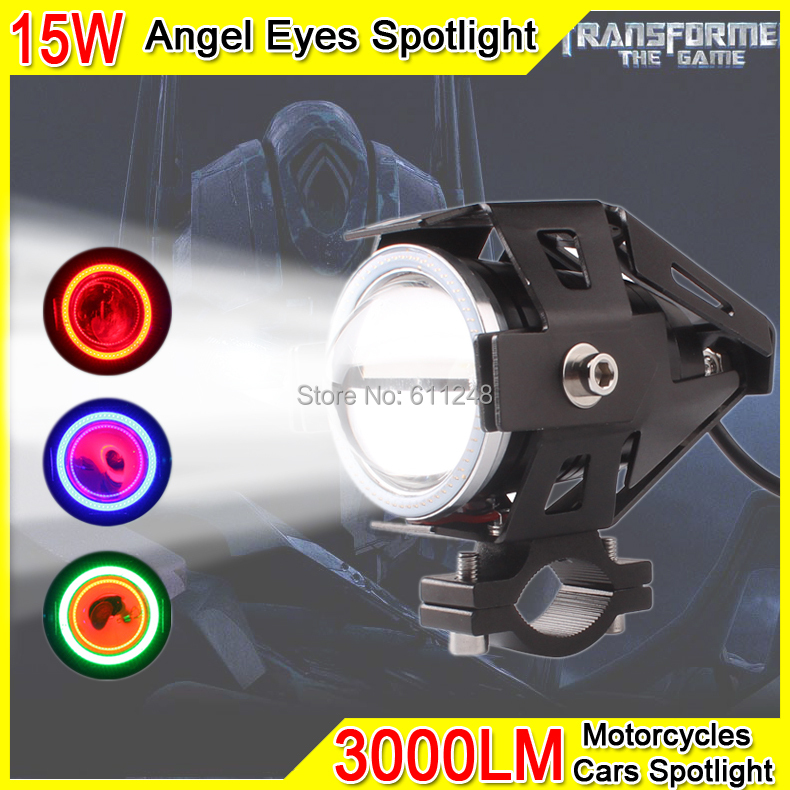 15W Projector Fog light Motorcycle Angel Eyes Strobe Spotlight DRL Led Light Red Angel Eyes For Trucks Boats Offroad Roof Light(China (Mainland))