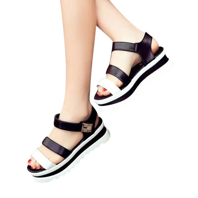 Женщины сандалии 2016 новый летний платформы толстые каблуки плоский черный и белый ...
