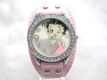 Drop shipping Brand new betty boop crystal wrist watch gift for children