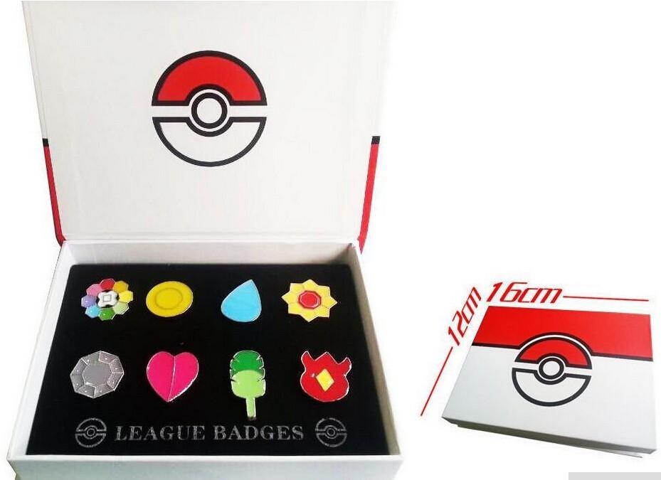 Box Kanto League Gym Badges Set of 8 Metal Pins Gen 1 Brooch Cosplay Pokemon