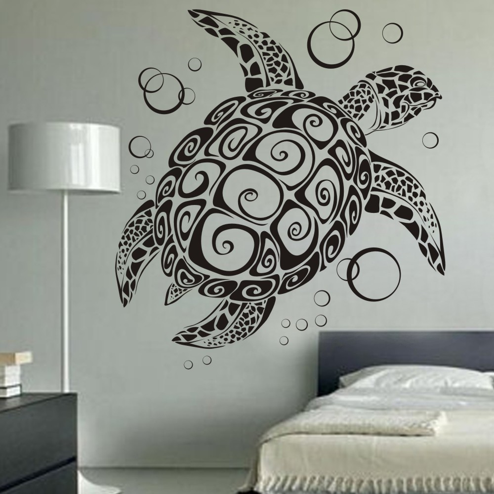 Buy sea turtle with bubbles uber decals for Wall decoration items