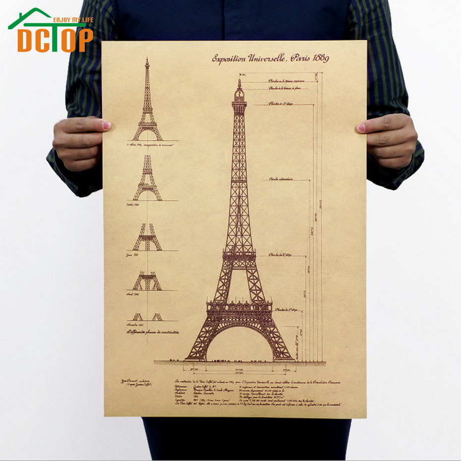 Eiffel Tower Paris Retro Poster Home Decor Living Room Decals Kraft Paper Wall Stickers Posters Home Decoration(China (Mainland))