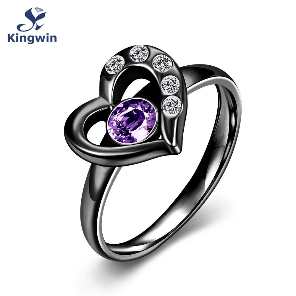 Unique Women's Heart shape Black Ring color birthday stone Stainless Steel Fashion Lady rings family love jewellery for Mum(China (Mainland))