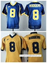 Cheap Sale 8 Aaron Rodgers Jersey Shirt California Golden College Jerseys All Stitched Home Navy Blue Yellow(China (Mainland))