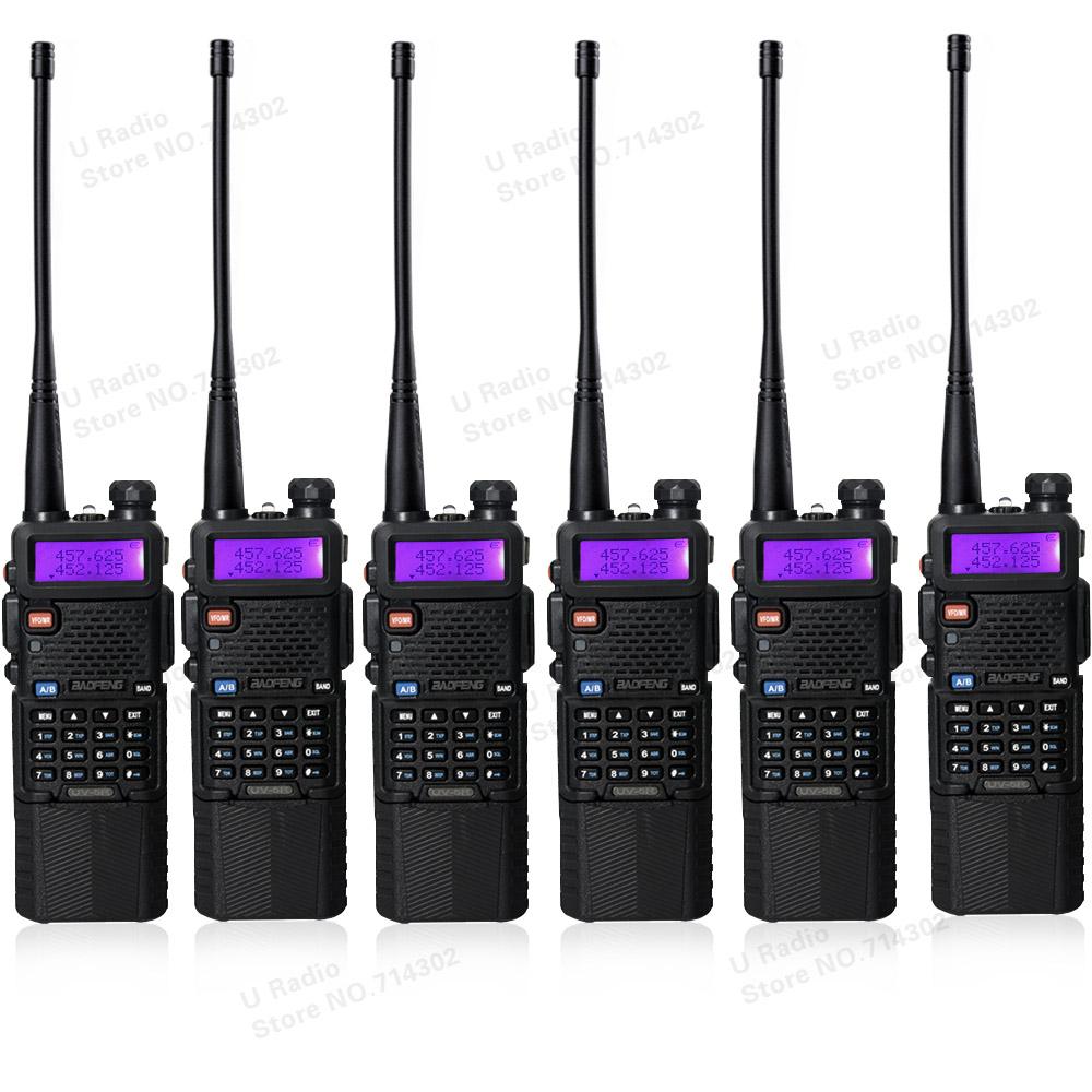 6pcs/lot portable baofeng UV5R two way radio big battery 3800mAh Dual Band UHF VHF 136-174/400-520 Mhz walkie talkie UV-5R(China (Mainland))