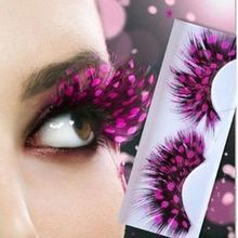 3pairs Pink Dot false eyelashes natural feather colorful fashion Make - top Beauty store