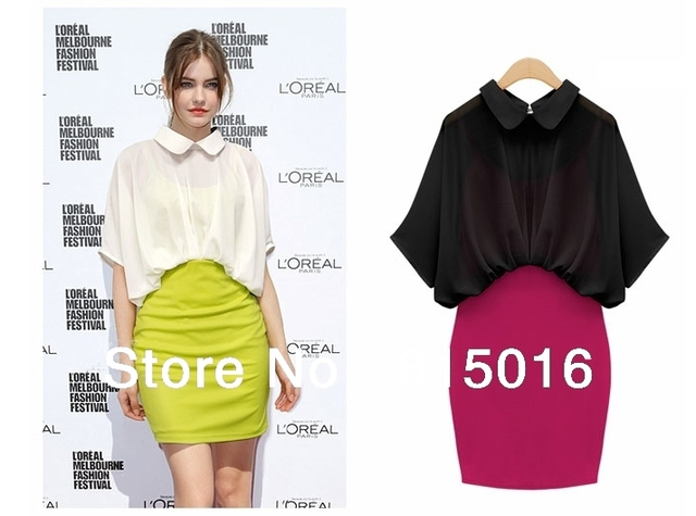 Free shipping Peter Pan lapel Sleeve Turn-down Collar Chiffon dress women fasion dress,Slim wrok Solid Puff Sleeve dress