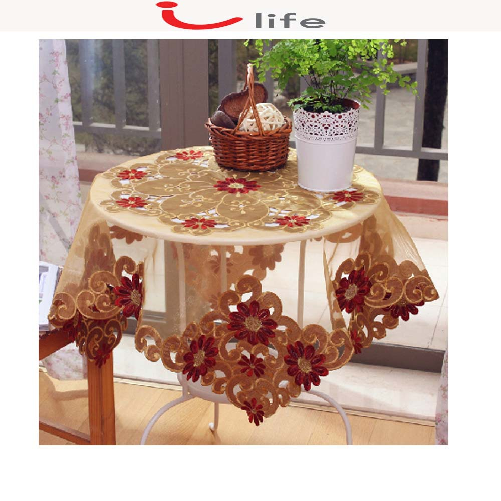 Table Cloth Covers Runner Flag For Wedding Decor Embroidered Round ...