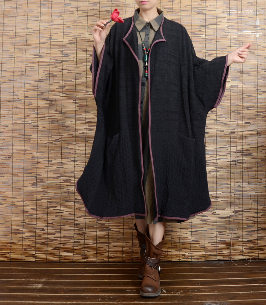 2017 Spring New Cotton and Linen Trench Coat Women's Simple Big Size Bat Sleeve Cotton Coat