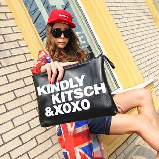 Women Handbag 2014 Major Suit Fashion Handbag PU Leather Wristlet Handbags Women Soft Bags With Printing Letter Envelopes(China (Mainland))