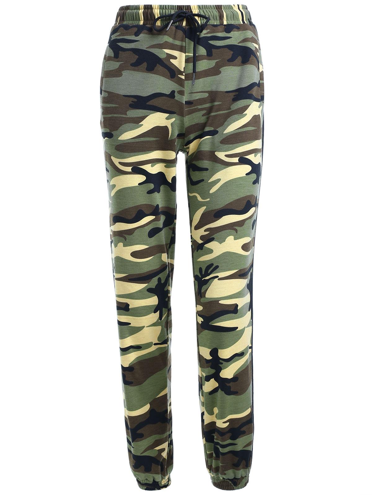 Newest Coming Fashionable Lace-Up Ninth Elastic Waist Slim Pencil Pants Narrow Feet Camo Print Women's Pants(China (Mainland))