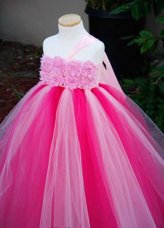 hot pink flower girl dress № 139511