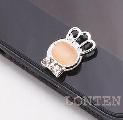 Phone Dustproof Plug Crown Shaped Zircon Gem Button Sticker(Assorted Color) ,1000pcs/lot(China (Mainland))