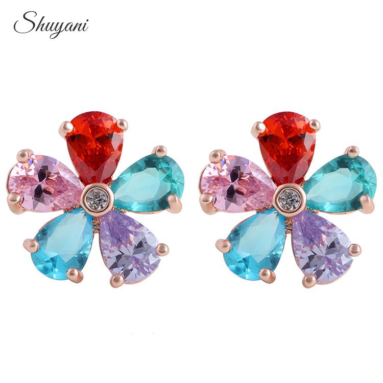 2016 Fashion Flower Earrings For Women Girls Brincos Gift Jewelry Crystal Flower Stud Earrings Statement Accessories
