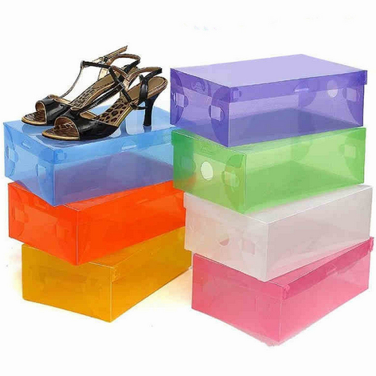 Rectangular Plastic Shoes Storage Container Stackable Foldable Shoes Storage Holder Home Space Saving Storing Gadgets Box Bin(China (Mainland))