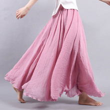 Buy 14 Colors Summer Long Skirt Womens 2017 Bohemian Brand Circel Cotton Maxi Falda Elastic Waist A-Linen Beach Ankle-Length Skirt for $15.83 in AliExpress store