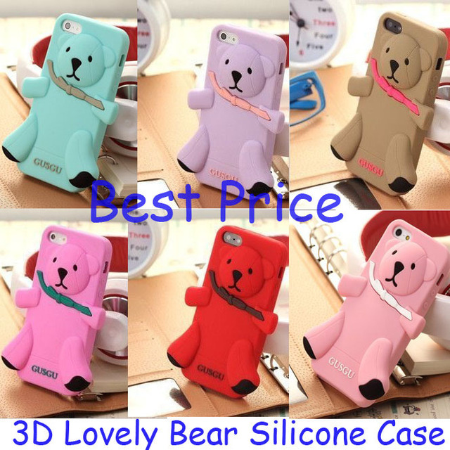 NEW arrival Bear Silicon 3D Case For iPhone 4 4s Protective Cover Free Shipping