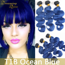 Buy 8A Mint 1B Blue Body Wave Hair Extensions Mongolian 3 Pcs 1B Ocean Blue Human Virgin Hair Weft Ombre Remy Human Hair Extenstions for $94.50 in AliExpress store