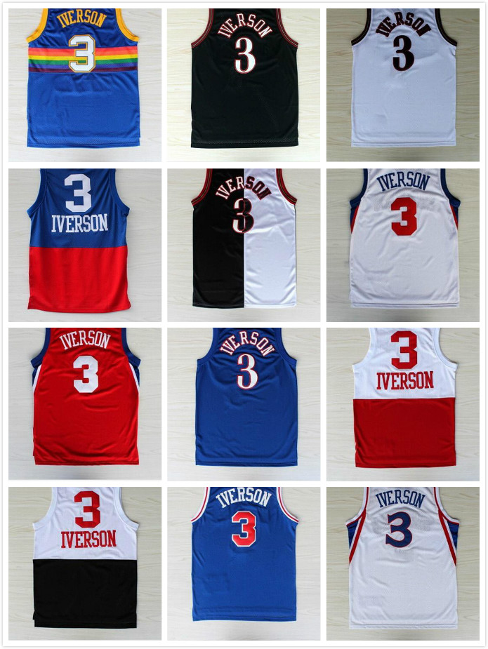 Philadelphia & Denver #3 The Answer Allen Iverson basketball jersey & shorts Stitched throwback jerseys Embroidery Logos(China (Mainland))