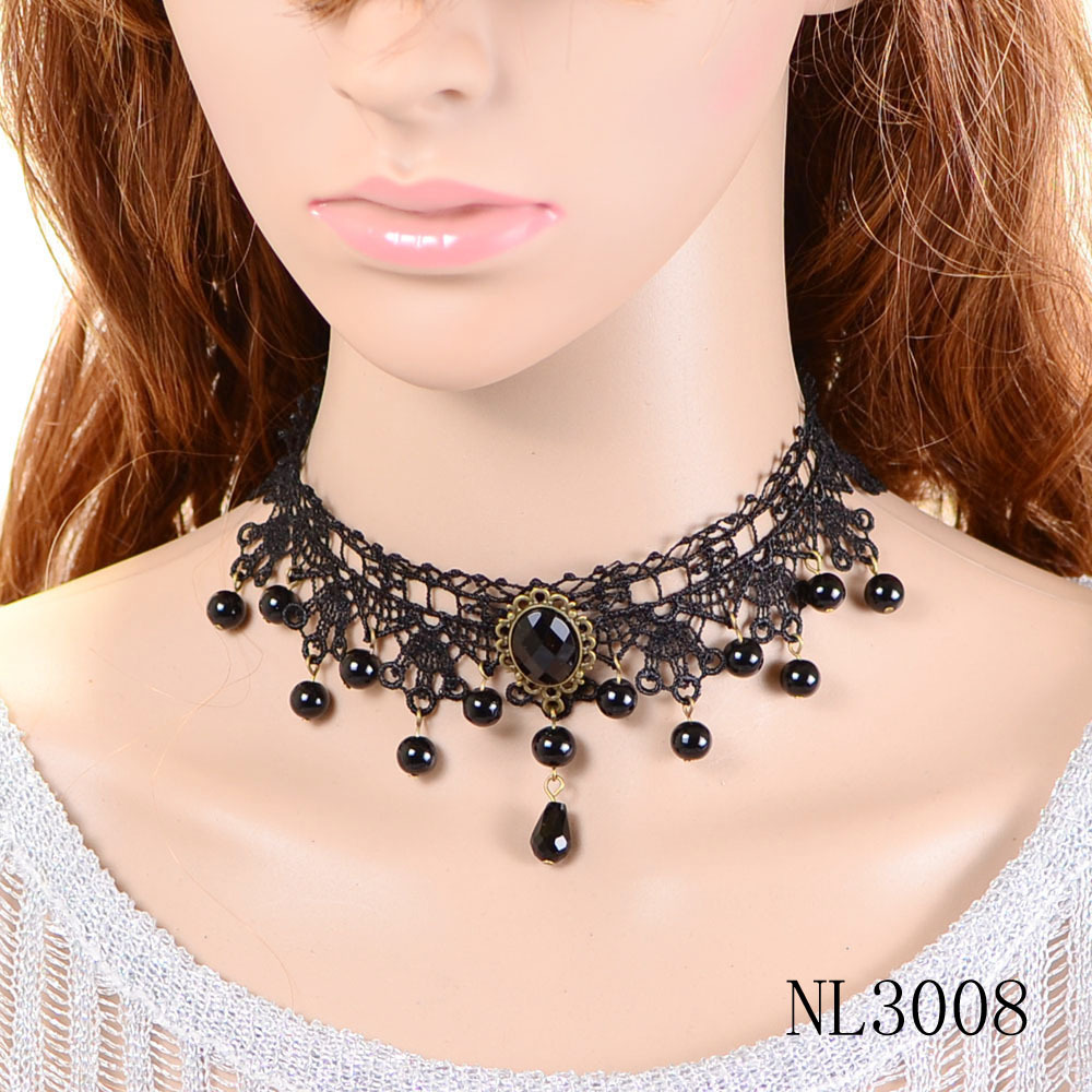 NL3008 high quality black sexy bead pendant vintage choker necklaces for ladies free shipping(China (Mainland))