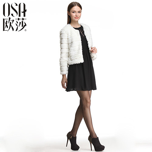 OSA Faux Fur white Single Breasted Full Sleeve women coat solid slim o-neck warm brand winter jackets coats SD429003 - Overseas Store store