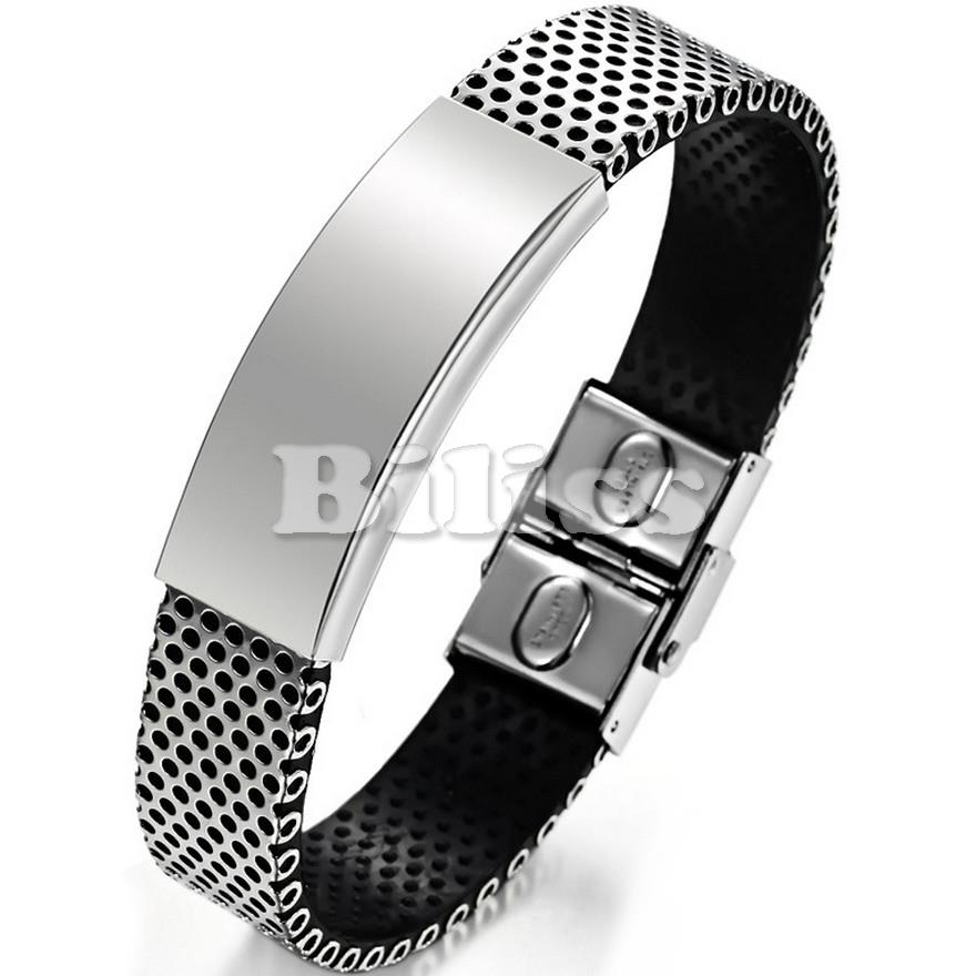 Black Genuine Leather Bracelet Men Bangle With Stainless Steel Fashion New Men Jewelry Wide Leather Men's Bracelets 2015(China (Mainland))