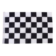 Black & White Chequered Formula One F1 Racing Banner Hand Waving Flag 12Pcs