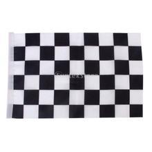 Black & White Chequered Formula One F1 Racing Banner Hand Waving Flag 12Pcs