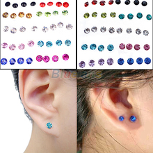 20 Pairs Women's 5mm Clear/Multicolor Crystal Allergy Free Ear Studs Earrings 00OM(China (Mainland))