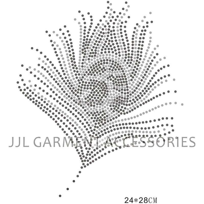feather hotfix rhinestones motif heat transfer iron on patch garment accesspries, welcome customized design(China (Mainland))