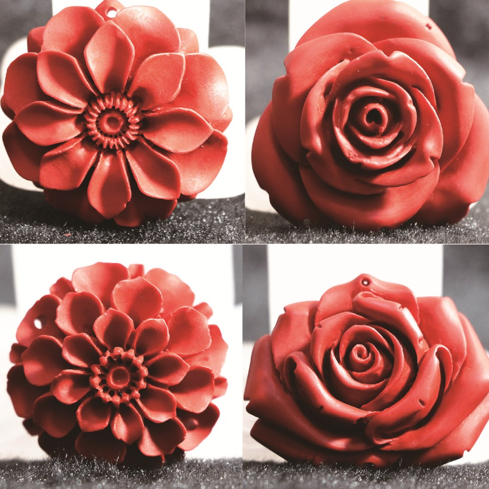 HOT!!multiple shape flowers synthetic red cinnabar pendant fit for diy jewelry necklace pendant accessories B815(China (Mainland))