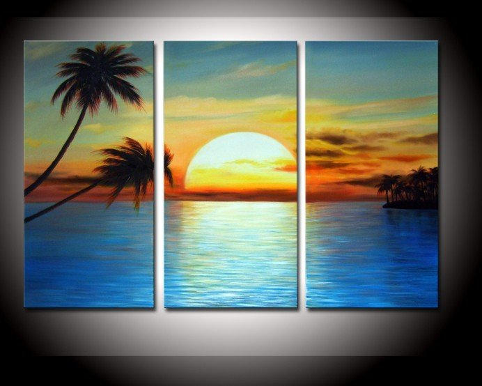 Free Shipping 100%hand painted oil painting modern 3 piece Sunrise Beach landscape living room wall decoration supply 189(China (Mainland))