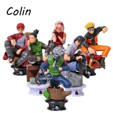 2016 Boys' Model Toy Gift 6Pcs/Lot PVC Anime Generation Chess Titans Naruto Action Figure Decoration Kakashi Sakura Haruno WJ031(China (Mainland))