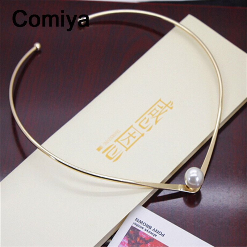 Comiya bijoux en argent fashion zinc alloy torques imitation pearl women choker necklaces wholesale statement cute torque velvet(China (Mainland))