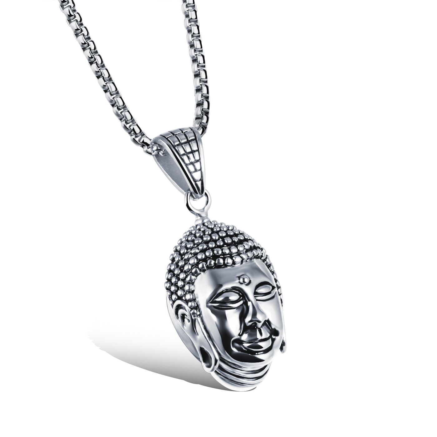 Personality head Fashion of Buddha design rock punk men's stainless steel necklace Pendants Cool Men Jewelry Necklaces(China (Mainland))