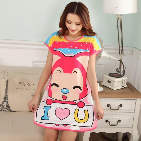 New Fashion Women Cute Cartoon Sleepwear Loose Nightwear Short Sleeve Sleepshirt