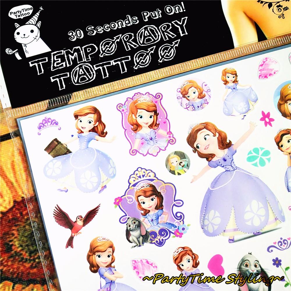 Sofia Princess Child Loves Temporary Body Art Toys, Flash Tattoo Sticker 17*10cm, Waterproof Tatto Henna Tatoo Wall Tatouage