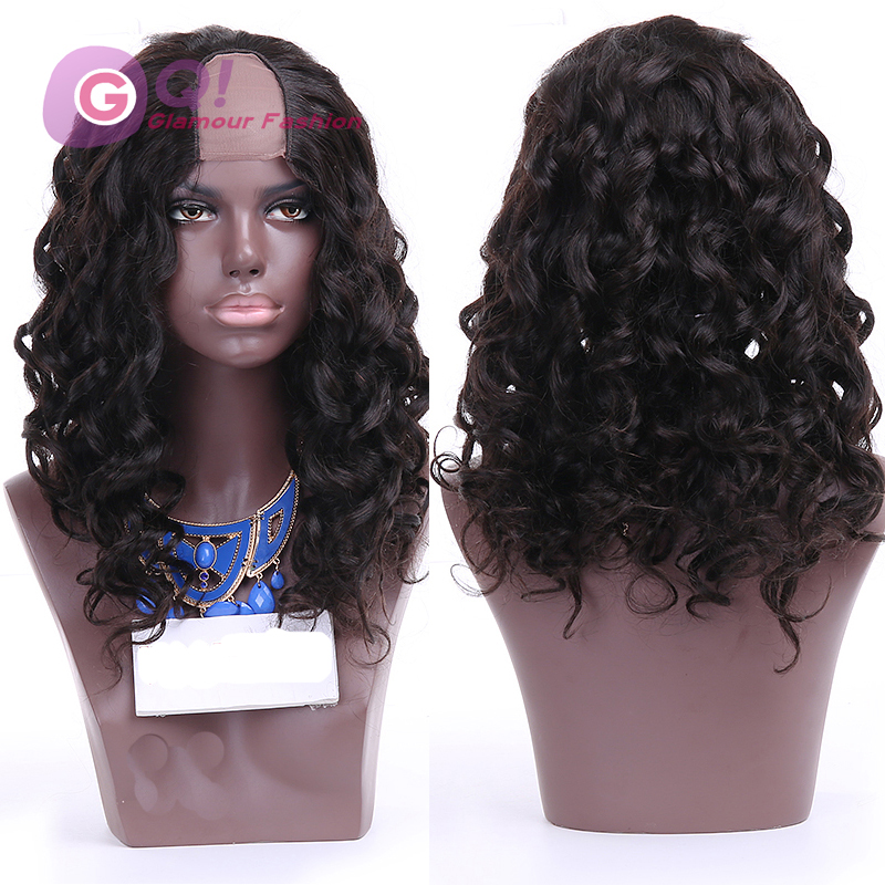 Фотография GQ Best Body Wave U Part Human hair Wig Wavy Upart Unprocessed Brazilian Virgin Hair U Part Wig 2*4 Opening with Lace 130density