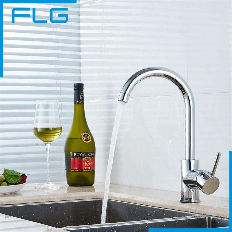 Free Shipping Solid Brass Chrome Kitchen Mixer Cold and Hot Kitchen Tap Single Hole Water Tap Kitchen Faucet torneira cozinha(China (Mainland))