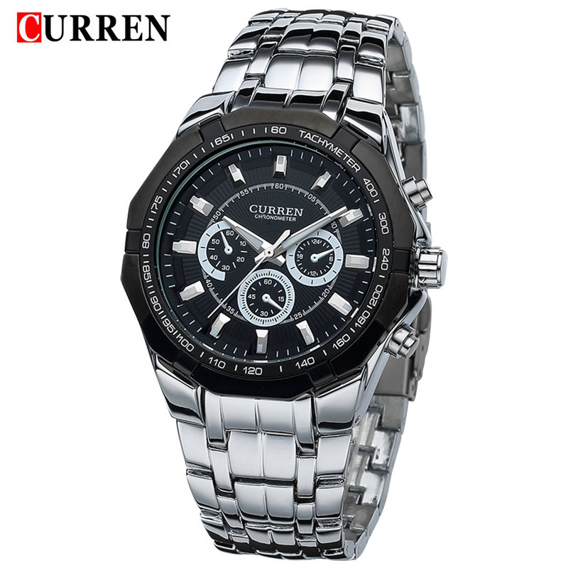 2016 new fashion curren brand design sport steel clock quality military man male business casual gift wrist quart army watch(China (Mainland))