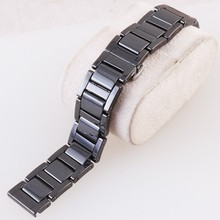 new 16mm 18mm 20mm ceramic and stainless steel buckle watchband white or black watch band watch strap Butterfly Buckle wristband