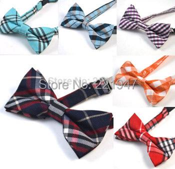Retail Boys Bow Ties Baby Children Students Pre-tied Adjustable Black Red White Plaid Cotton Bowtie Tie Free Shippnig - greey li's store