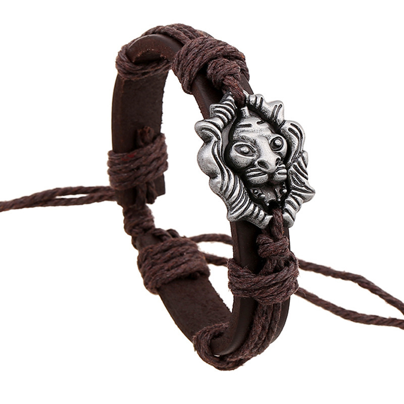 couro Factory the new lion's head bracelet jewelry export 2 dollar store jewelry leather bracelet(China (Mainland))