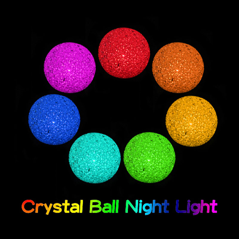 Free Shipping Color Changing Crystal Ball LED Night Lamp Magic 7Colors Colorful Light<br><br>Aliexpress