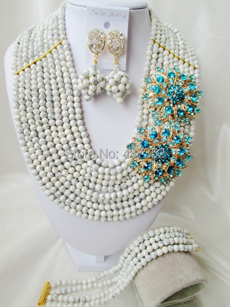 Amazing With Double Brooches White Turquoise Beaded Nigerian Wedding Beads African Beads Jewelry Set TJS388<br><br>Aliexpress