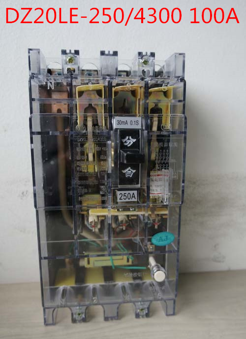Transparent shell Three phase four wire 4P earth leakage circuit breaker DZ20LE-250/4300 100A