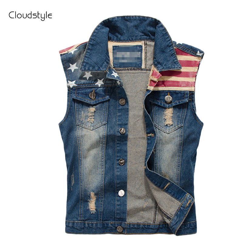 2016 Brand Clothing Denim Vest Men Slim Fitness Jean Vest America Flag Leisure High Quality Free Shipping Ea7 Street Style