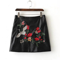2016 autumn European and American style women high waist embroidered PU leather skirt