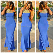 Blue Muslim Evening Dresses 2016 O-Neck Beaded Gold Rhinestones Mermaid Prom vestido de noiva moroccan caftan Gown - Roselover store